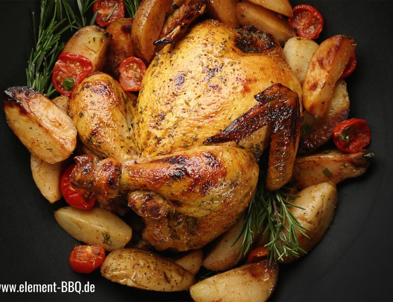 Ofen-Hähnchen auf Gemüse